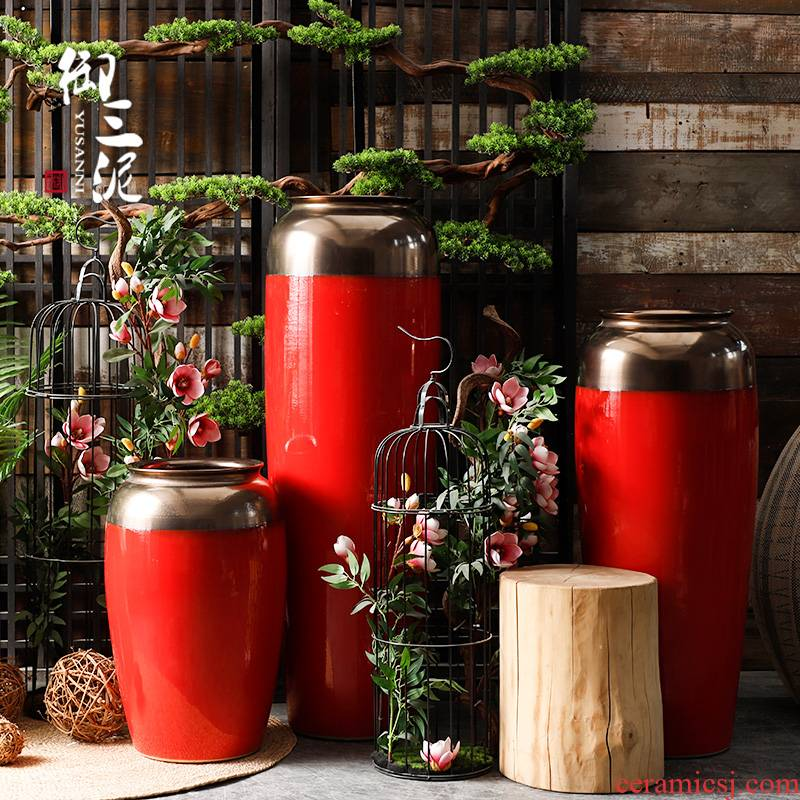 Large vases, ceramic I and contracted Chinese red red wedding festival furnishing articles flower arranging new Chinese style living room