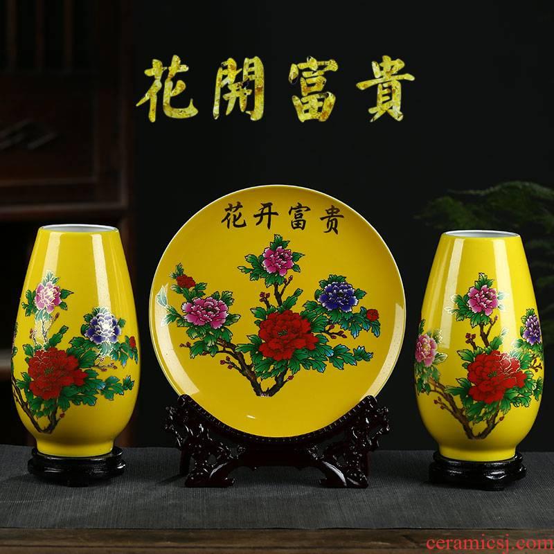 Jingdezhen ceramics vase three - piece yellow peony flower arranging Chinese style household, sitting room adornment handicraft furnishing articles