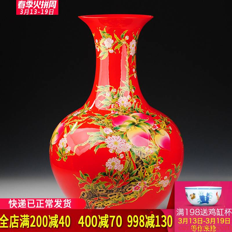 Jingdezhen ceramics China red live figure of large vases, I and fashionable sitting room home decoration furnishing articles