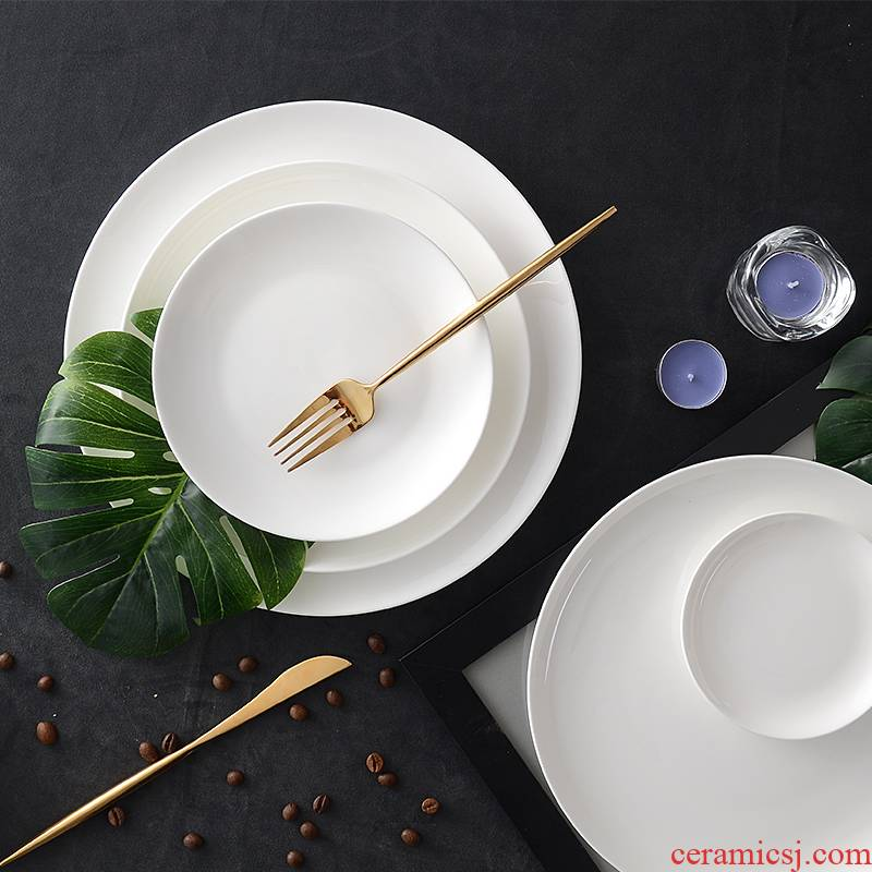 Steak dinner plate ipads porcelain plate white child round platter of household ceramic plates of 7 inches pasta dishes