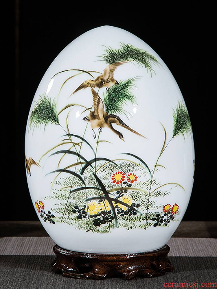 Jingdezhen ceramics vase of I and contracted home sitting room handicraft wine creative egg ornament furnishing articles