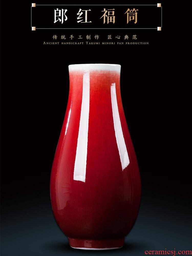 Jingdezhen ceramics of large vase furnishing articles furnishing articles flower arranging device youligong red wine sitting room adornment household