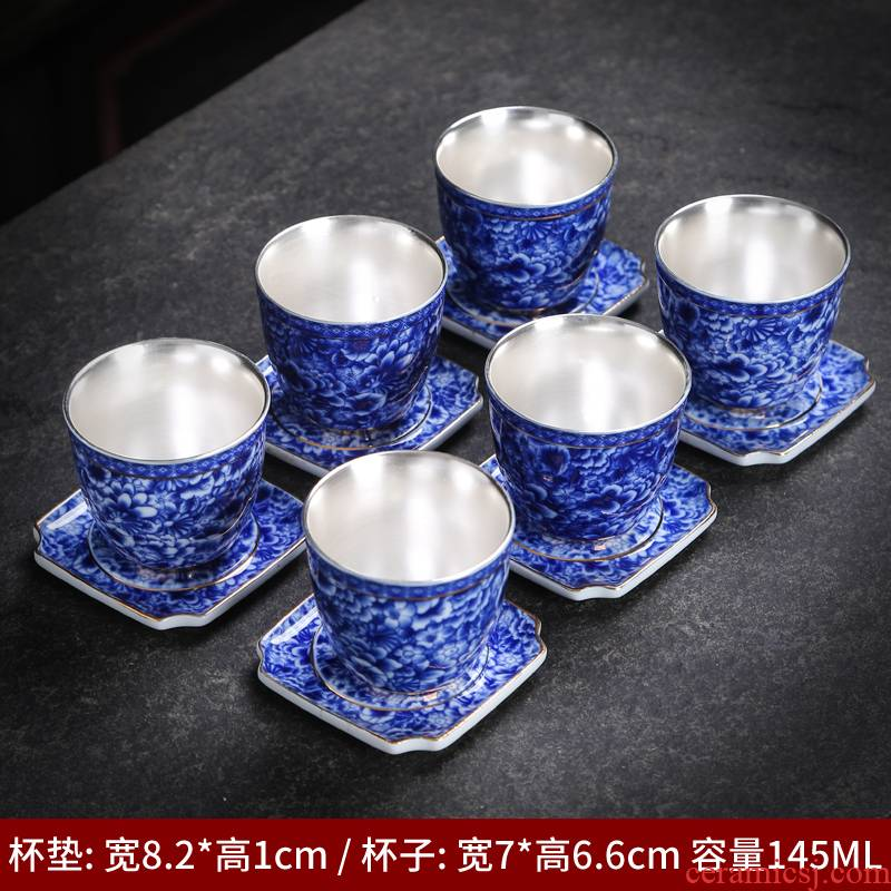 Jingdezhen ceramic cups large - capacity single CPU kung fu tea cup to use Japanese blue and white porcelain cup mat sample tea cup