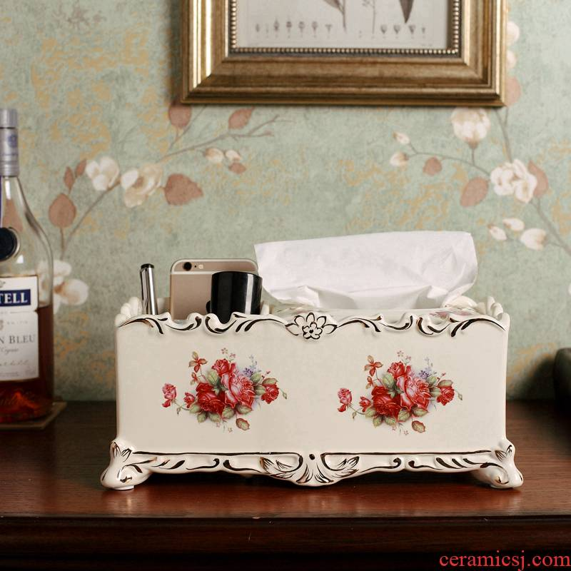 European ceramic multi - function tissue box napkin smoke box receive a case frame sitting room tea table desktop remote control