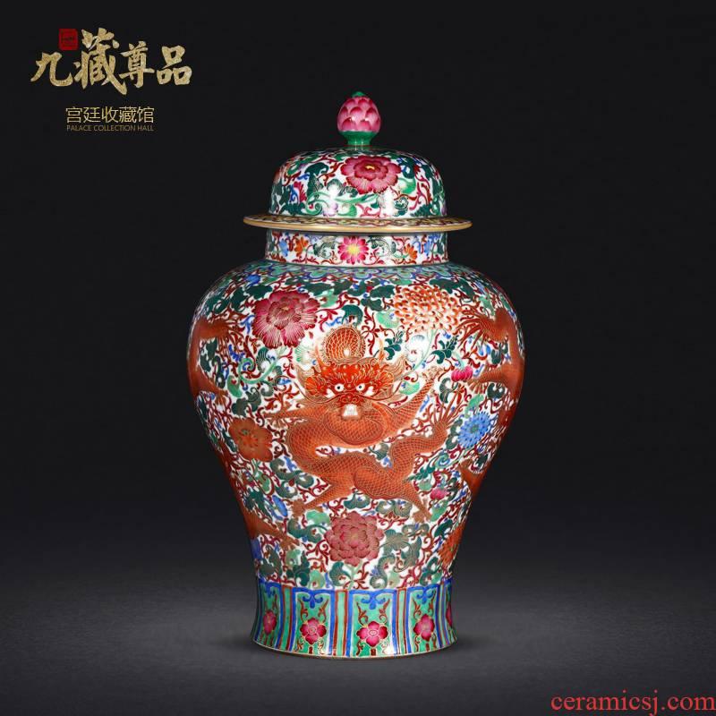 Jingdezhen porcelain vases, antique hand - made enamel wire inlay paint dragon general wear purple flower pot home furnishing articles