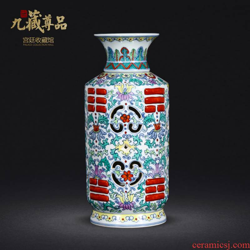 Jingdezhen porcelain vases, antique hand - made porcelain dou turn color heart bottles of home sitting room collect adornment furnishing articles