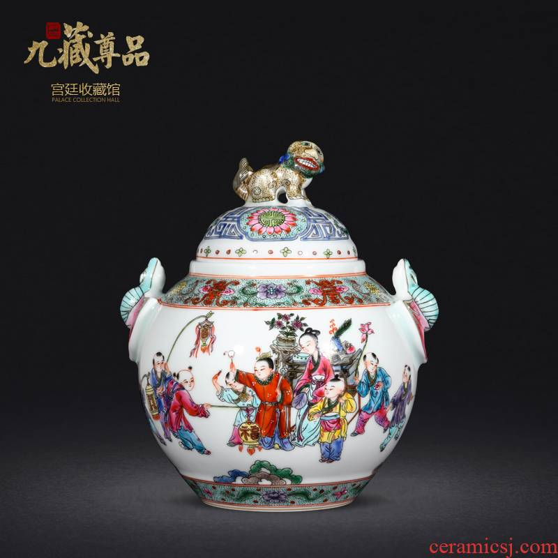 Jingdezhen ceramic vase hand - made enamel baby play figure archaize cover pot of Chinese style living room home furnishing articles