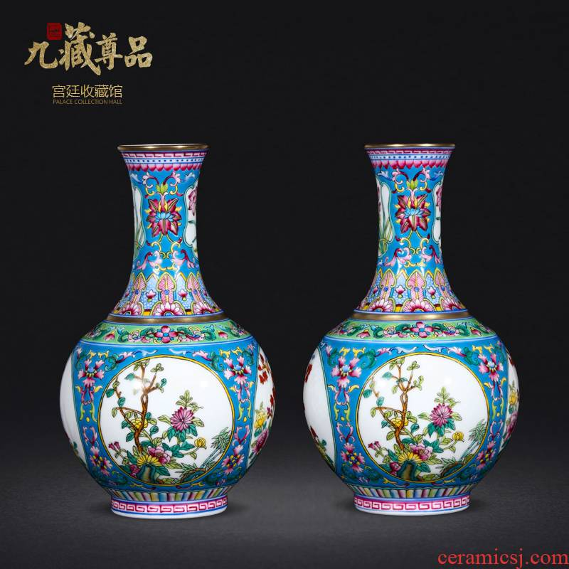 Jingdezhen ceramics antique hand - made colored enamel open window the green lotus flower design classic adornment furnishing articles