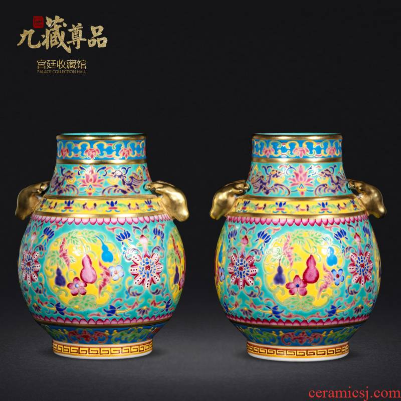 Jingdezhen ceramics antique hand - made lion listen lu chun bottles household enamel vase classic adornment furnishing articles