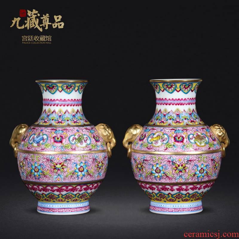 Jingdezhen ceramic vases, antique hand - made pastel lions ears sweet as cans Chinese style living room home decoration and furnishing articles