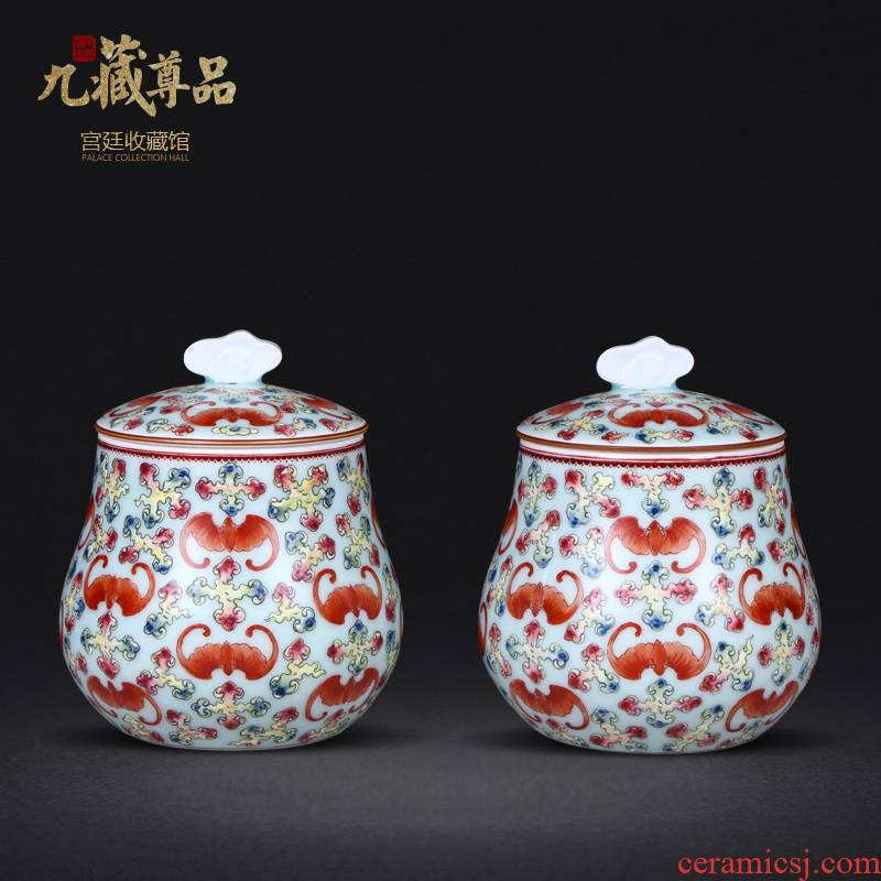 Jingdezhen ceramics antique hand - made pea green glaze the bats grain caddy fixings handicraft decoration penjing collection