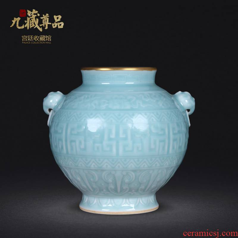 Jingdezhen porcelain antique carved blue glaze trace golden lion ear pot vase furnishing articles to decorate the sitting room of Chinese style arts and crafts