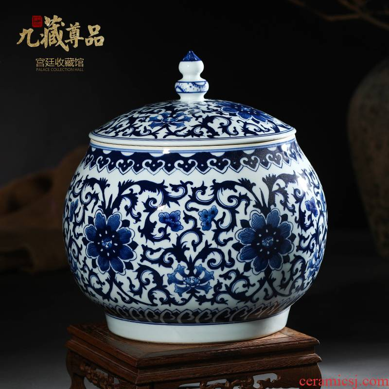 Jingdezhen ceramics antique hand - made bound branch lines of blue and white porcelain tea pot cover furnishing articles storage tank decoration decoration