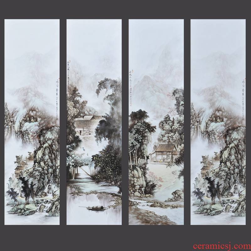 Jingdezhen folk master hand draw four new screen porcelain plate painting the sitting room adornment household furnishing articles