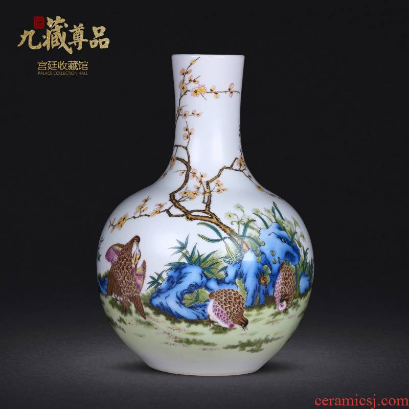 Jingdezhen ceramics hand - made means safe bamboo vase flower arranging home sitting room manual art handicraft furnishing articles
