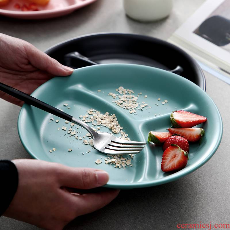 Nordic ins web celebrity home frame plate creative ceramic tableware fruit dessert dish restaurant three flat plate