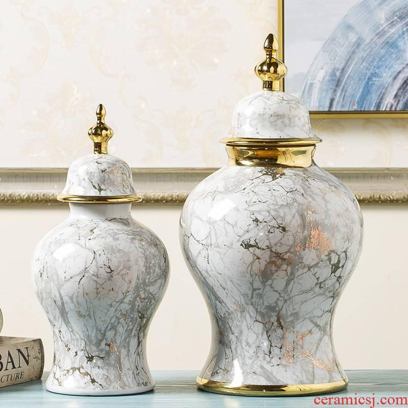 Jingdezhen ceramic vase marble general light tank furnishing articles modern new Chinese style key-2 luxury dried flower flower arranging bottles