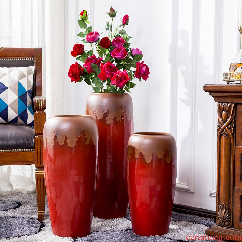 Jingdezhen ceramic floor furnishing articles red dried flowers big vase creative new Chinese style living room TV cabinet decoration decoration