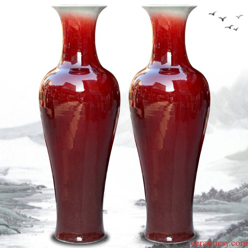 Jingdezhen ceramic glaze furnishing articles of crack home sitting room ruby red landing big vase office study adornment
