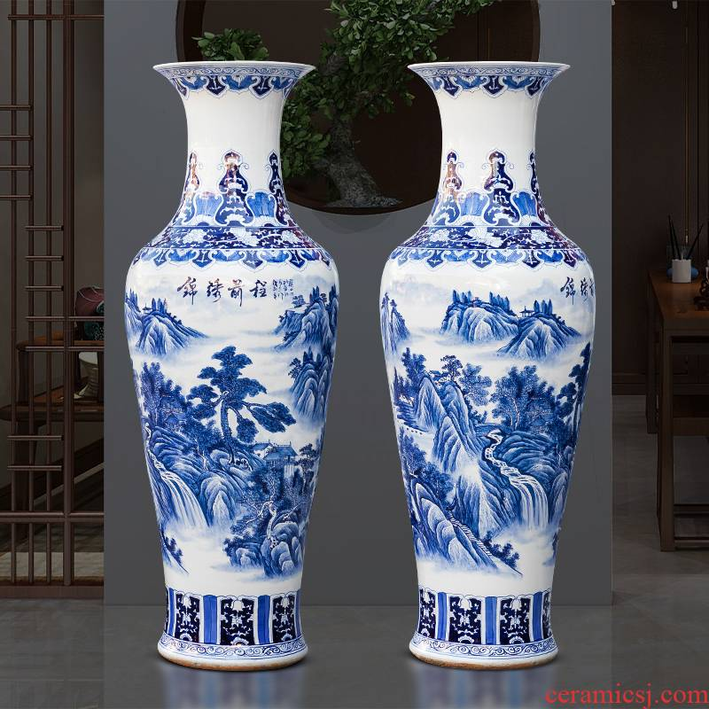 Jingdezhen ceramics vase landing large hand draw claborate - style painting of the blue and white porcelain hotel villa decoration furnishing articles
