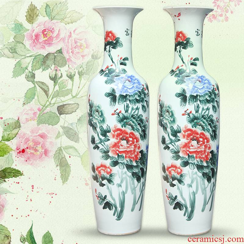 Jingdezhen ceramics hand - made riches and honour figure of large vase fgt0 household decorates sitting room place, Chinese style home outfit