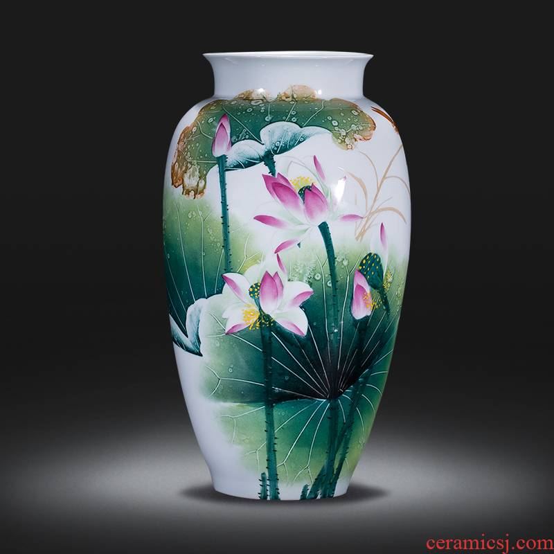 Jingdezhen ceramics of large vases, famous master hand made lotus place, a large sitting room porch decoration