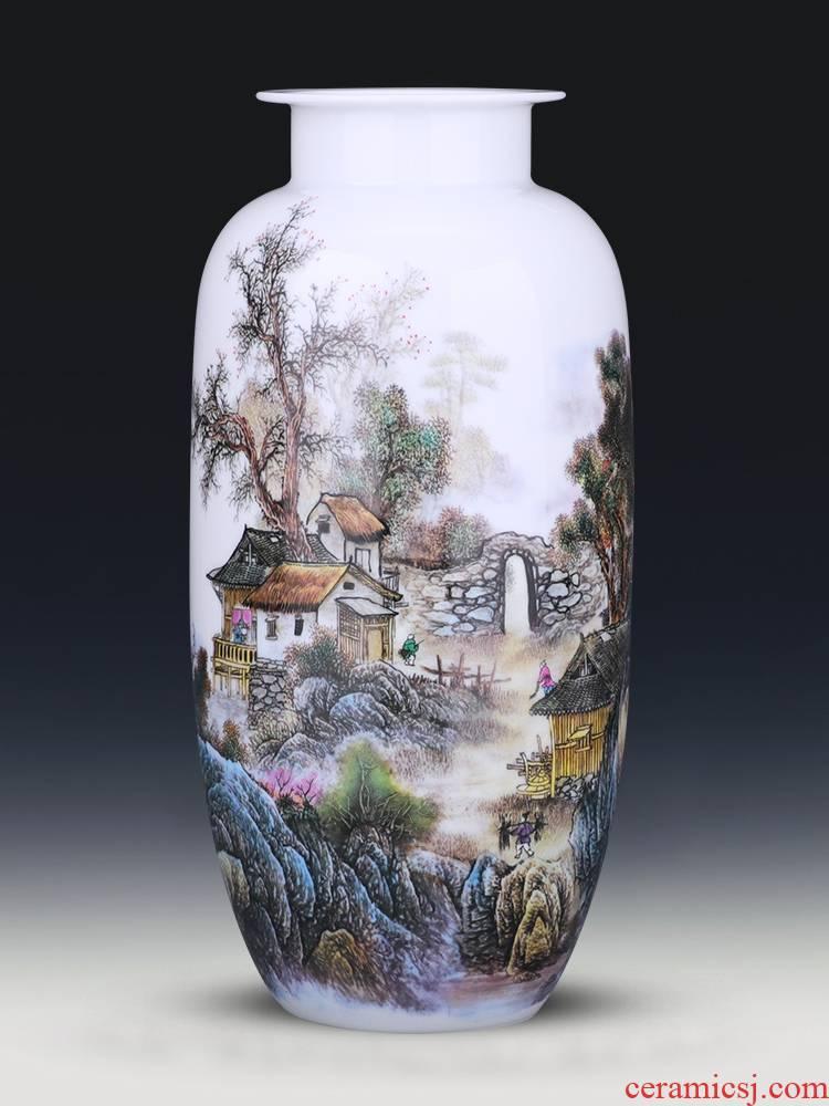 Porcelain of jingdezhen ceramics vase pastel landscape expressions using straight new Chinese rich ancient frame TV ark, adornment