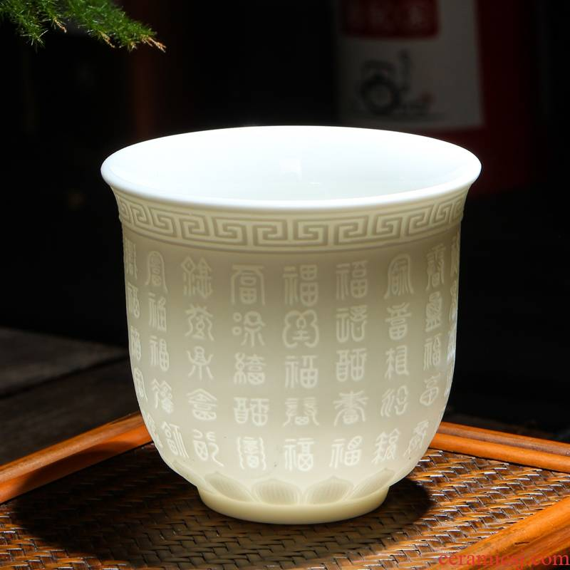 Dehua white porcelain cup home suet jade sample tea cup ceramic masters cup kung fu tea set tea tea cup