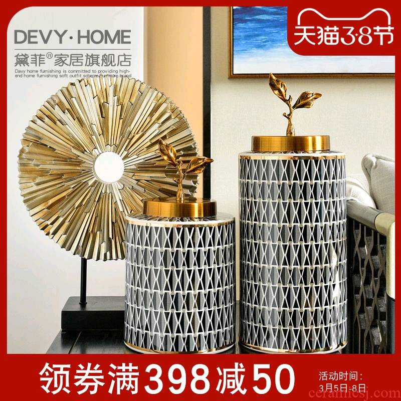Light ceramic creative key-2 luxury furnishing articles between household act the role ofing is tasted, the sitting room porch example modern American receive tank dry flower decoration