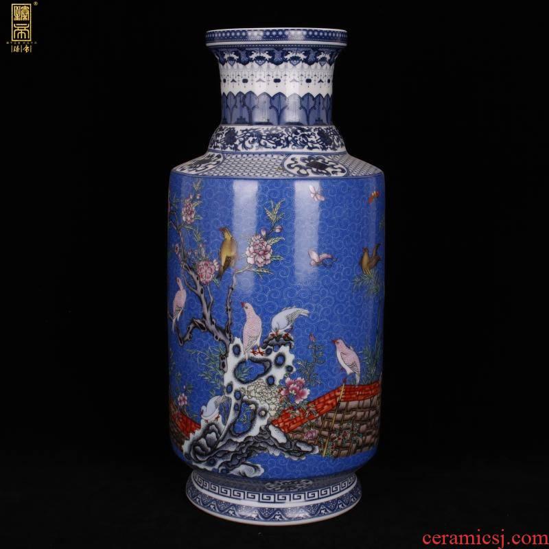 Jingdezhen imitation enamel qianlong years antique vase pastel blue birds and flowers were bottles of Chinese style household ground furnishing articles