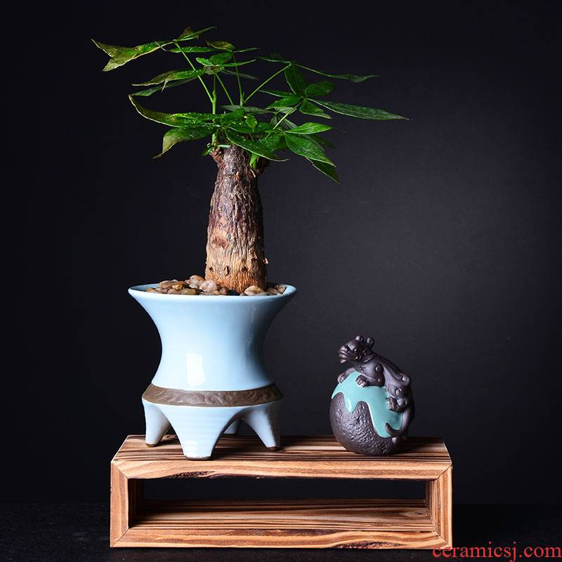 Combination of new Chinese style more creative ceramic flower pot meat asparagus rich tree green plant pot contracted bracketplant wholesale flower pot
