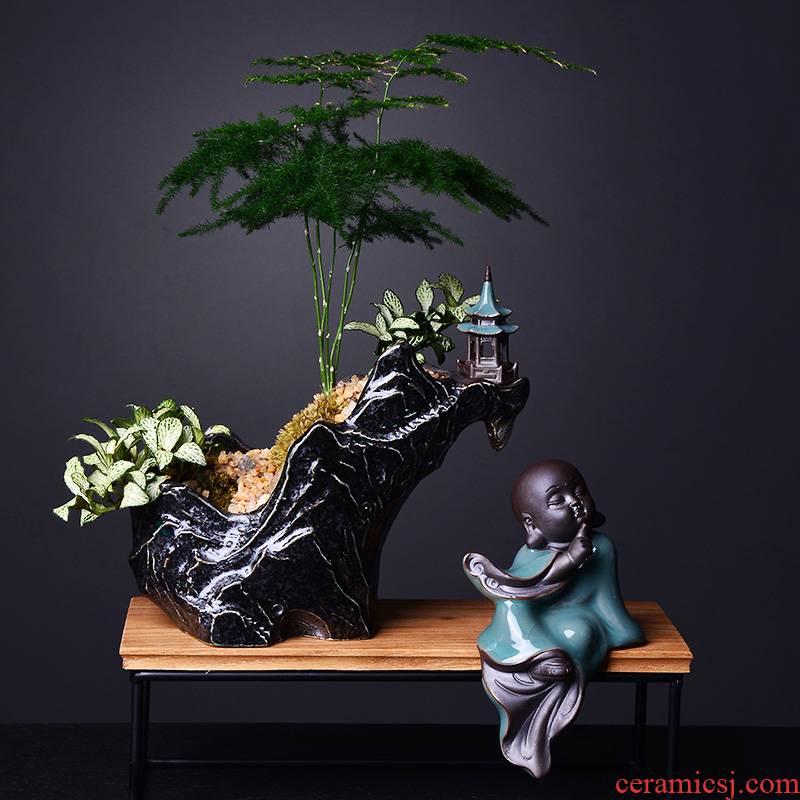 Combination of new Chinese style flowerpot ceramic creative asparagus calamus landscape rockery miniascape of zen basin meaty plant flower pot