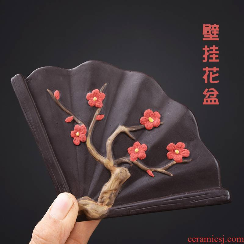 New Chinese style restoring ancient ways hanging pot ceramic large balcony more meat hanging wall flower pot hanging violet arenaceous refers to flower pot