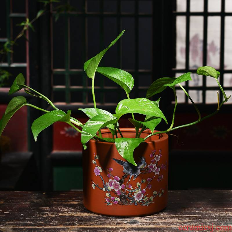 Purple sand flowerpot large creative hydroponic copper bowl lotus basin water lily grass nonporous household refers to flower pot ceramic container