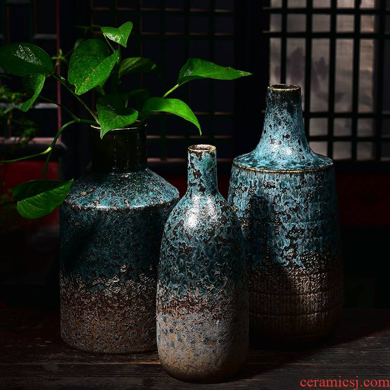 New Chinese style ceramic glaze vase creative oversized living room decoration flower arranging the container dry flower is placed a hydroponic money plant flower pot