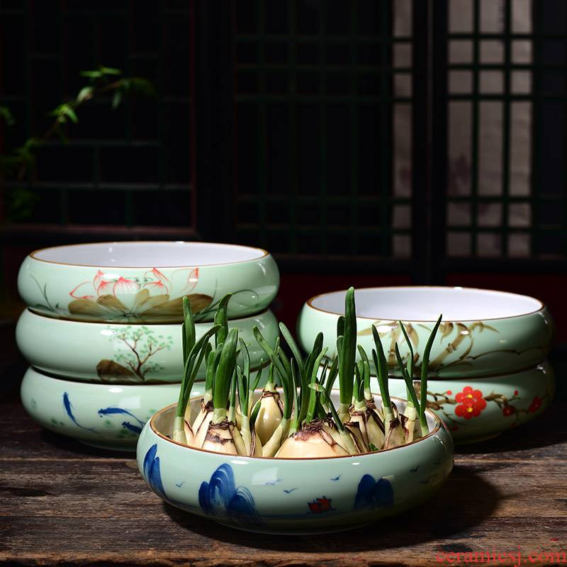 Celadon hand - made refers to flower pot ceramic household without extra large hole copper bowl lotus basin water lily grass hydroponic container