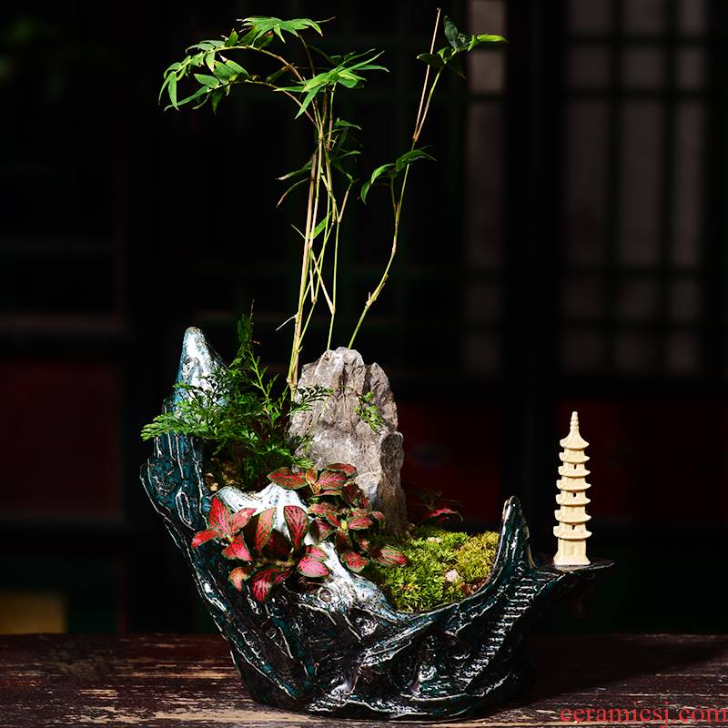 New Chinese style ceramic creative household rockery the plants large green plant landscape bonsai POTS bowl sitting room adornment flowerpot