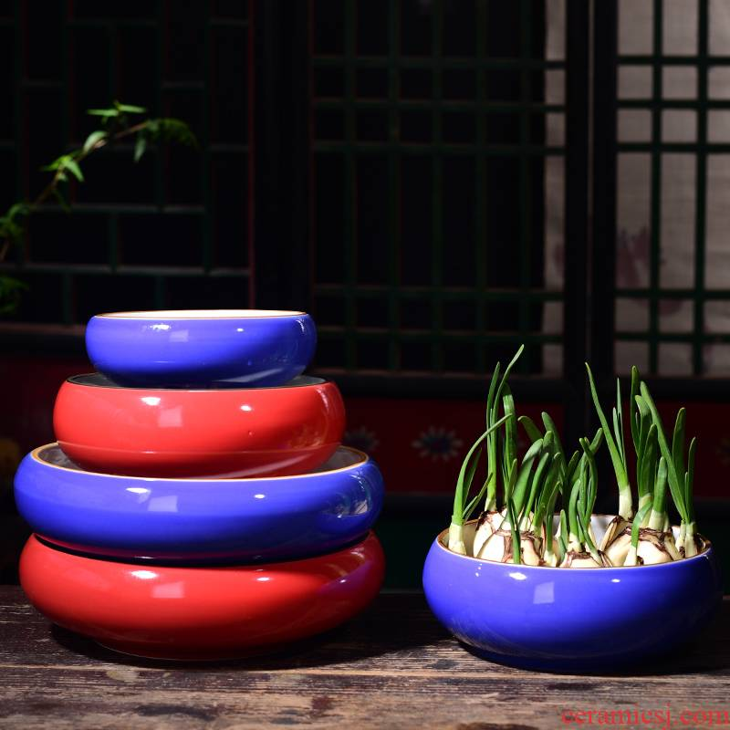 Refers to flower pot ceramic household nonporous extra large aquatic the plants copper bowl lotus basin water lily grass withered lotus hydroponics