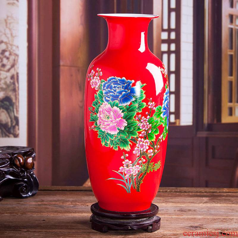Jingdezhen ceramic Chinese red vase furnishing articles sitting room of Chinese style restoring ancient ways is the dried flower arranging household porcelain decoration