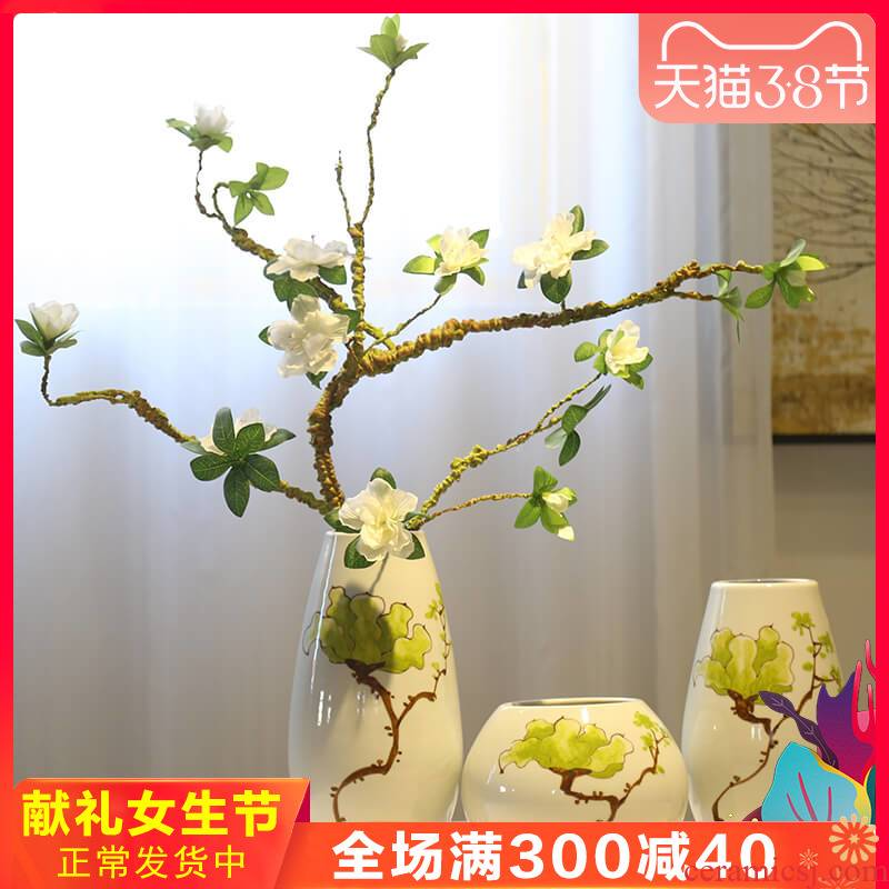 New Chinese style creative platform vases, tea table table table crispy noodles, rural flower ceramic furnishing articles TV ark, decoration