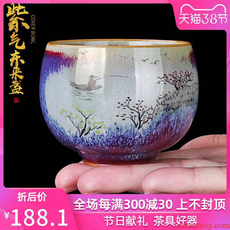 The Sample tea cup kung fu tea cups up hand - made Japanese checking ceramic tea cup, large individual cup special master