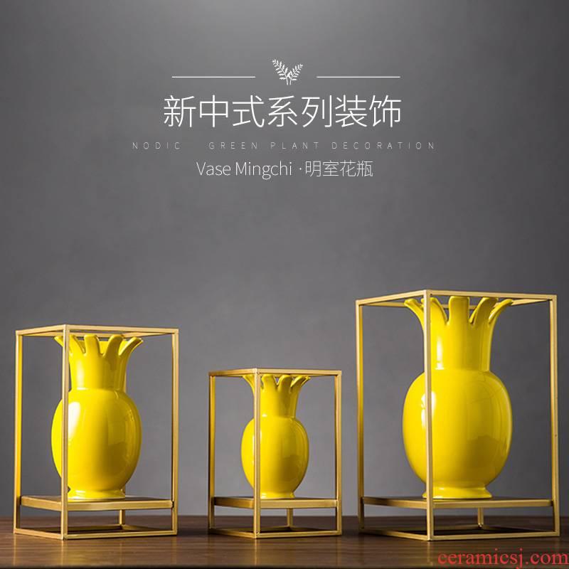 Yellow light decoration key-2 luxury furnishing articles three - piece suit the hotel restaurant new Chinese style decoration creative ceramic art atmosphere