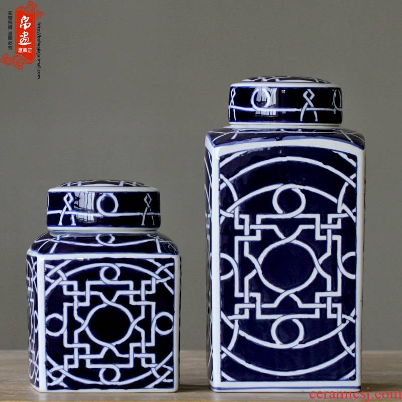 Jingdezhen blue and white porcelain home decoration furnishing articles blue - and - white ceramics European - style home sitting room example room storage tank process