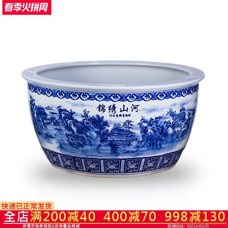 All hand - made large aquarium bath crock of blue and white porcelain of jingdezhen ceramics garden water lily tortoise cylinder lotus basin