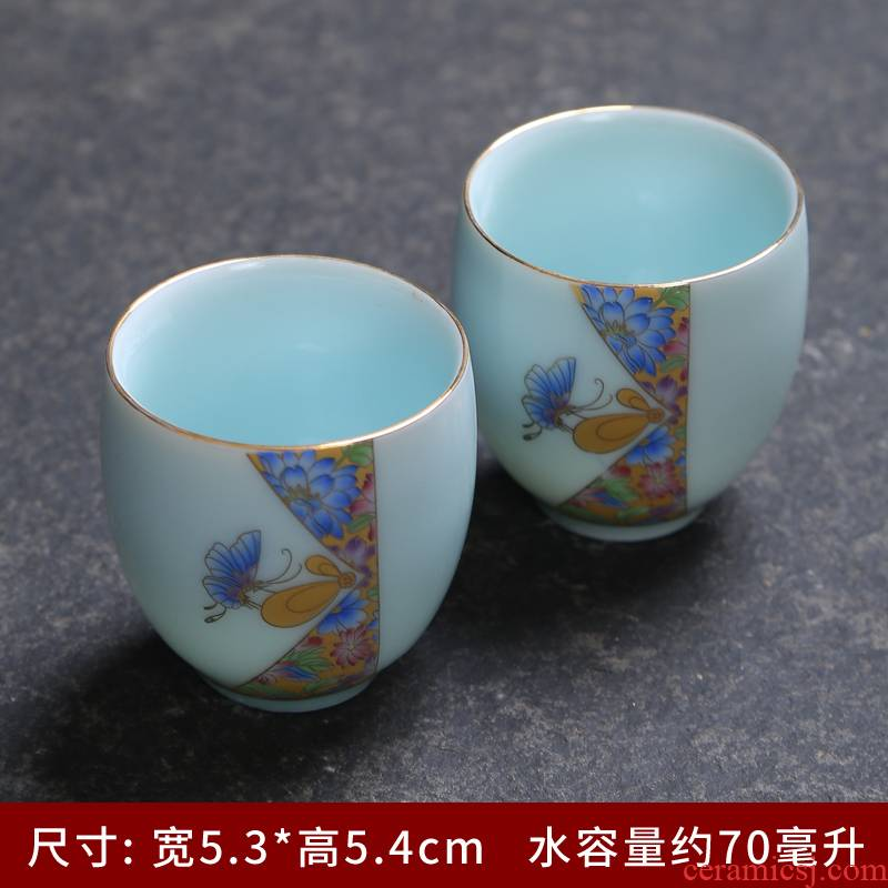 Longquan celadon teacup sample tea cup kung fu tea set reasonable sample tea cup cup teapot tea powder had been the son of a complete set of blue