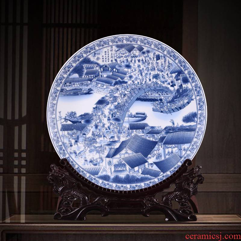 Jingdezhen blue and white ceramics clear painting decorative plate hanging dish Chinese style living room home rich ancient frame furnishing articles