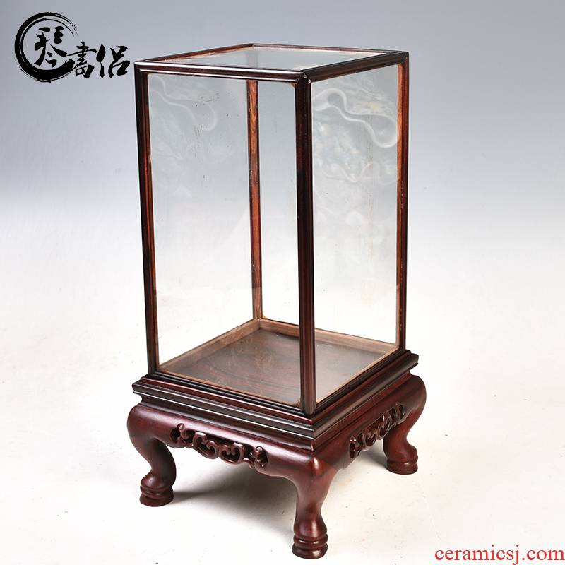 The glass dust cover red rosewood carving treasure cage type of solid wood antique mahogany base cover bag