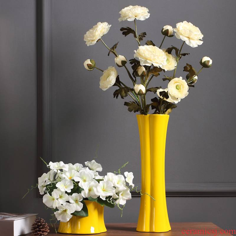 Creative ceramic vase furnishing articles dried flower arranging flowers sitting room European - style, contracted and I household adornment floral arrangements