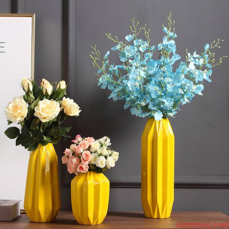 Ins vase furnishing articles living room flower arranging household soft adornment ceramic household adornment flowers furnishings