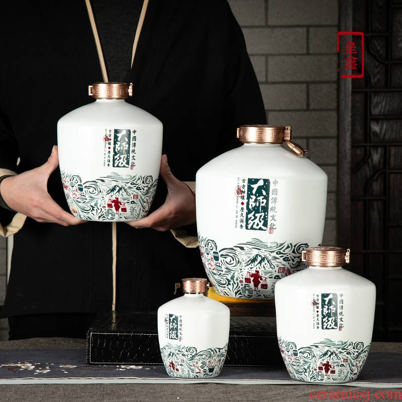 An empty bottle of jingdezhen ceramic 1/3/5/10 jins to household seal wine utensils mercifully wine wine jar hip flask